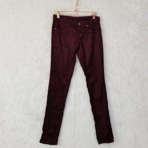 NWT LF Carmar Maroon Corduroy Skinny Pants